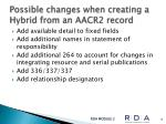 possible changes when creating a hybrid from an aacr2 record