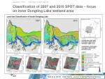 classification of 2007 and 2010 spot data focus on inner dongting lake wetland area
