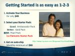 getting started is as easy as 1 2 3