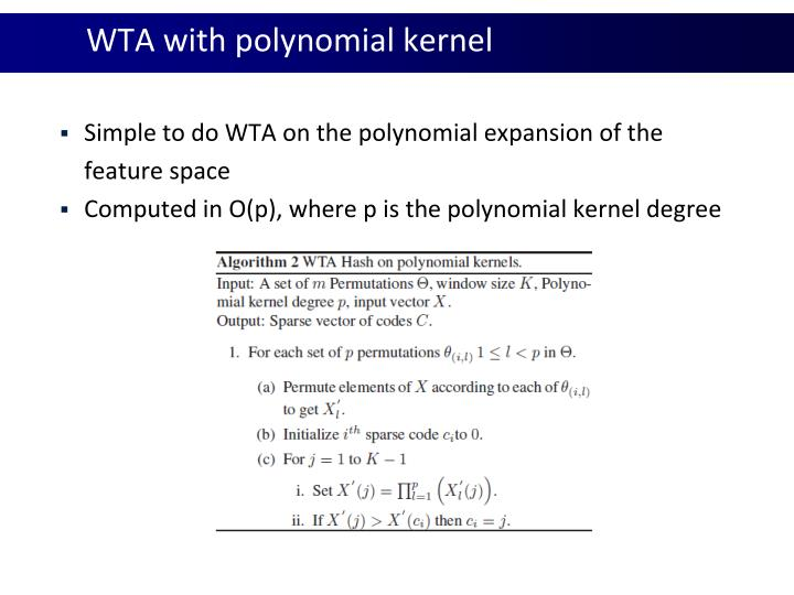 WTA with polynomial kernel