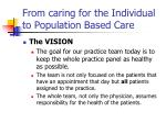from caring for the individual to population based care