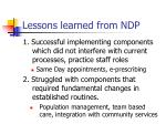 lessons learned from ndp