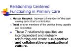 relationship centered functioning in primary care1