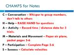 champs for notes