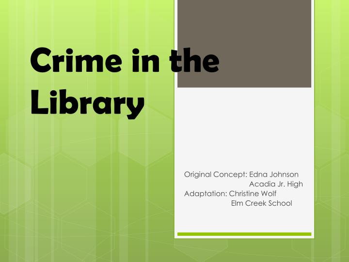 crime in the library n.