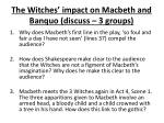 the witches impact on macbeth and banquo discuss 3 groups