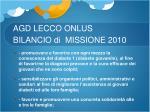 agd lecco onlus bilancio di missione 20101