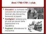 anni 1790 1791 i club