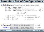 formula set of configurations