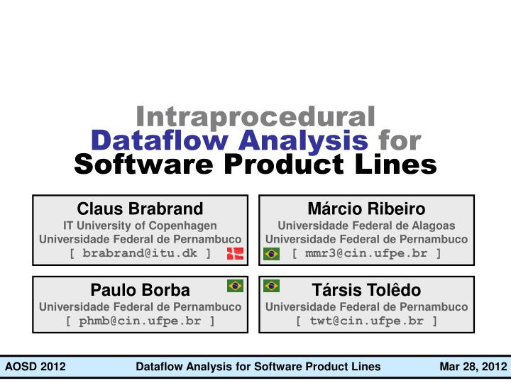 intraprocedural dataflow analysis for software product lines n.