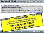 related work emerging interfaces