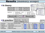 results memory usage