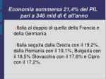 economia sommersa 21 4 del pil pari a 346 mld di all anno