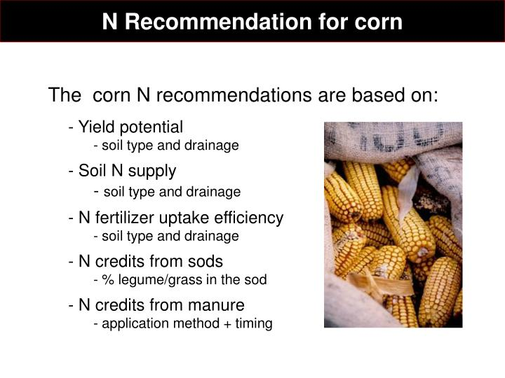 N Recommendation for corn