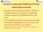 concern amongst defence forces and governments