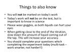 things to also know