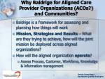 why baldrige for aligned care provider organizations acos and communities