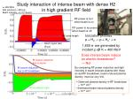 study interaction of intense beam with dense h2 in high gradient rf field