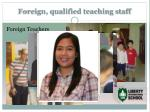 foreign qualified teaching staff