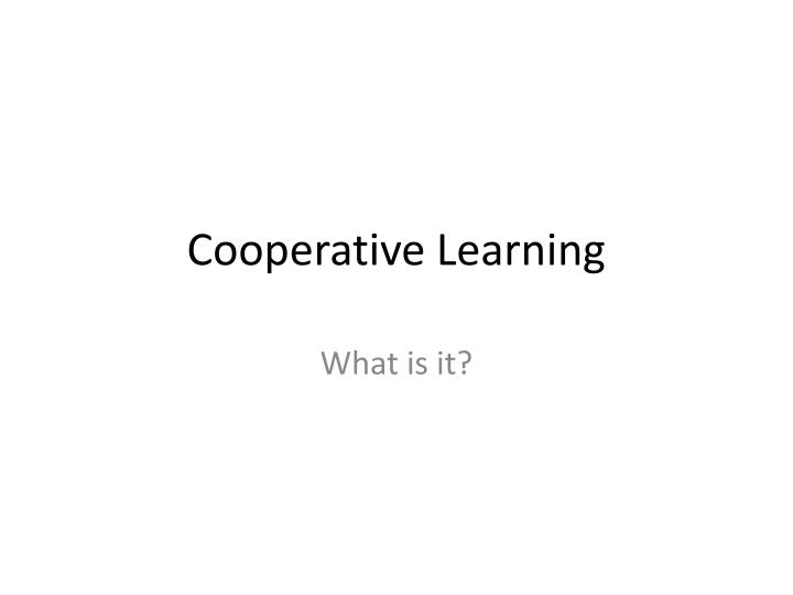 cooperative learning n.