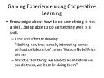 gaining experience using cooperative learning