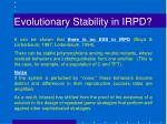 evolutionary stability in irpd3