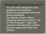 paraphrase instructions cont d