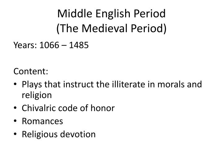 Middle English Period