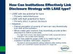 how can institutions effectively link disclosure strategy with lsae type
