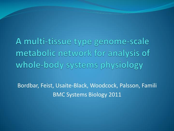 a multi tissue type genome scale metabolic network for analysis of whole body systems physiology n.