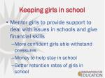 keeping girls in school