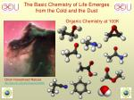 the basic chemistry of life emerges from the cold and the dust
