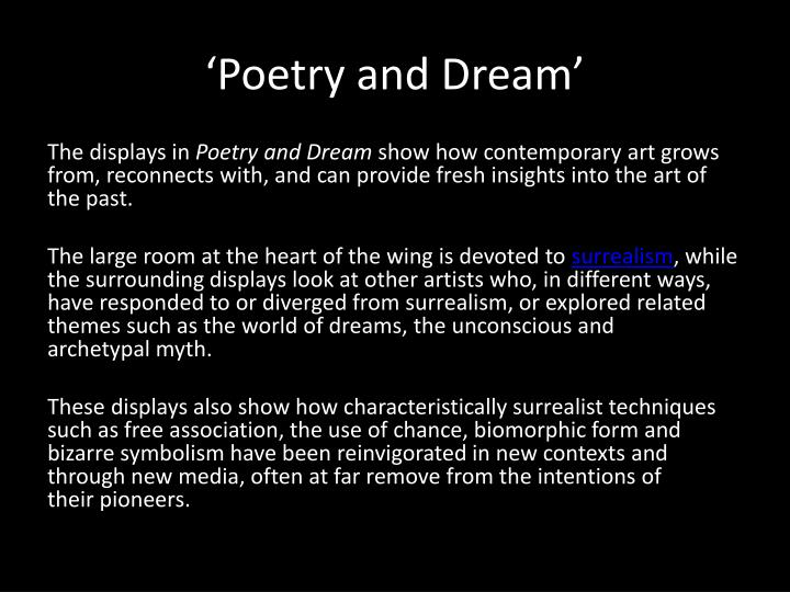 'Poetry and Dream'