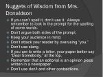 nuggets of wisdom from mrs donaldson