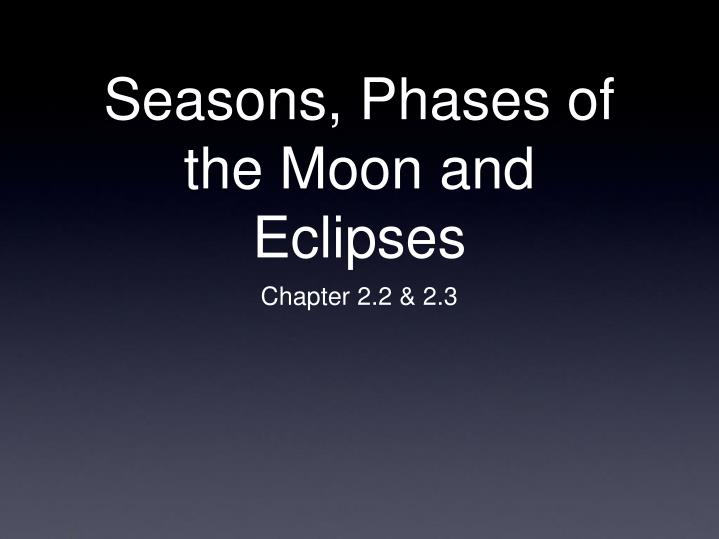seasons phases of the moon and eclipses n.