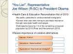 you lie representative joe wilson r sc to president obama