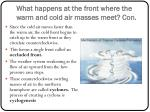 what happens at the front where the warm and cold air masses meet con
