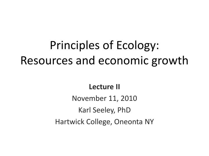 principles of ecology resources and economic growth n.