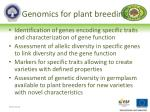 genomics for plant breeding