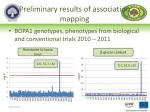 preliminary results of association mapping