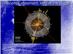 recent excitement hint of the higgs