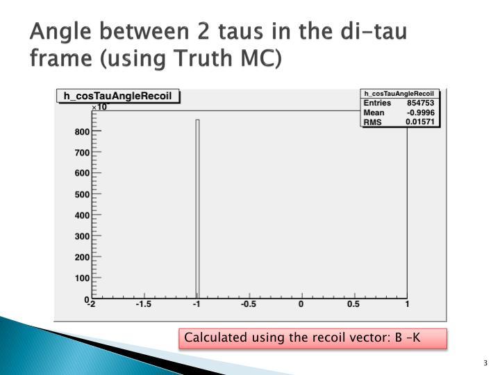 Angle between 2 taus in the di tau frame using truth mc1
