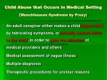 child abuse that occurs in medical setting munchhausen syndrome by proxy