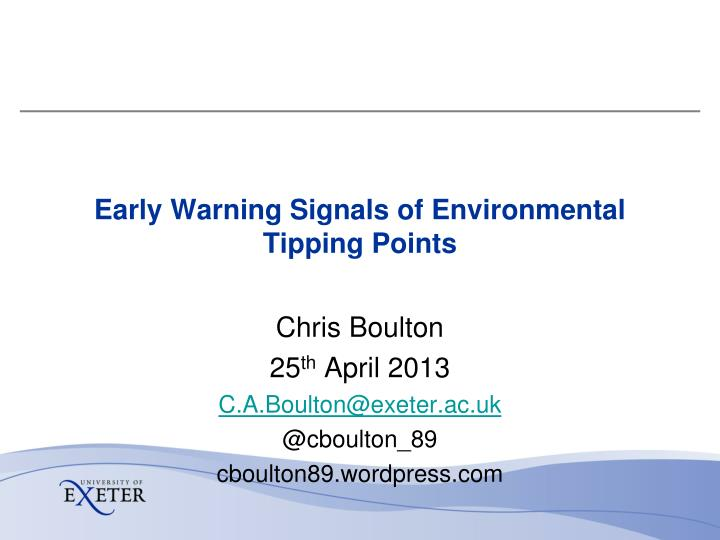 early warning signals of environmental tipping points n.