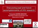 advancement of science and research on hiv