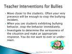 teacher interventions for bullies