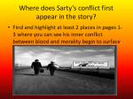 where does sarty s conflict first appear in the story