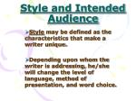 style and intended audience