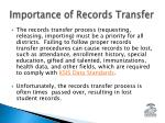 importance of records transfer