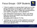 focus groups odp students